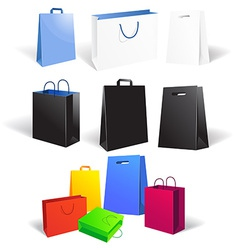 Set of empty shopping bags isolated on white vector