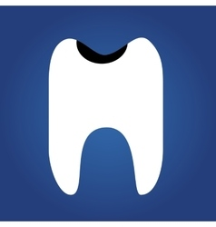 Tooth flat icon isolated on a blue background for vector