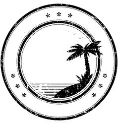 Tropical island grunge stamp vector