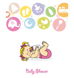 Baby girl with baby bottle vector
