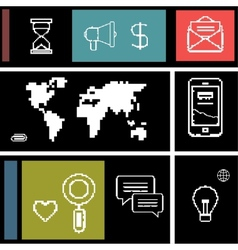 Set icons for business internet and communication vector