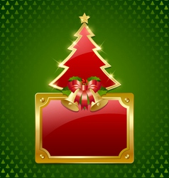 Christmas tree with bells and plaque vector