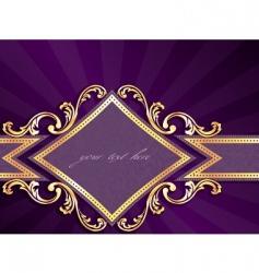 Horizontal label with gold rim vector