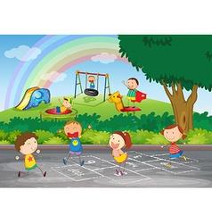 A group of happy children vector