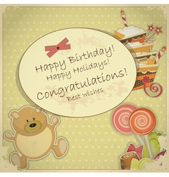 Bear candy and cake vector
