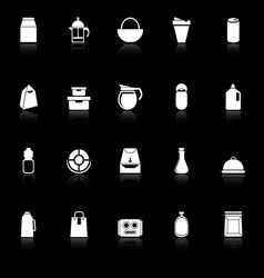 Variety food package icons with reflect on black vector
