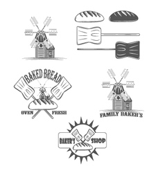 Baked bread  oven fresh shop logos and pictures vector