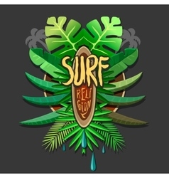Summer artwork surf rerigion - surfing vector