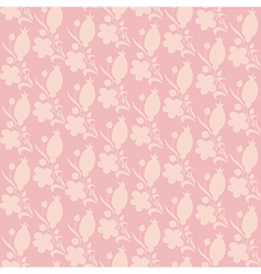 Pink texture with berry and flower silhouette vector
