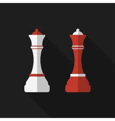 Flat chessman with long shadow icon vector
