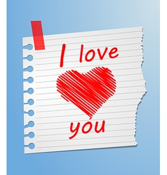 Piece of paper love you vector