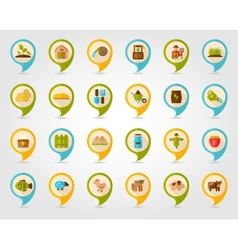 Farm garden flat mapping pin icon with long shadow vector