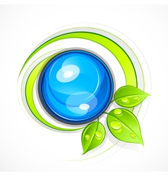 Leafy green eco button vector