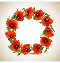 Wreath of poppies vector