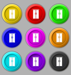 Cupboard icon sign symbol on nine round colourful vector