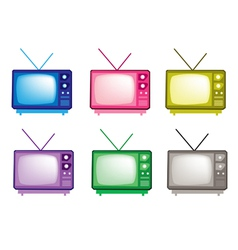 Colorful set of retro television icon vector