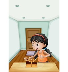 A girl unwrapping the gift inside the room vector