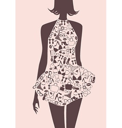 Silhouette of woman in dress from accessories vector