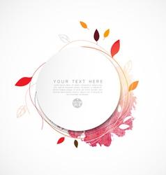 Blank circle paper with leaf and watercolor paint vector