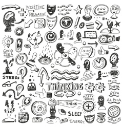 Thinking psychology - doodles set vector