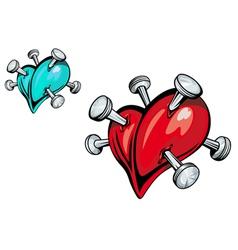 Nailed hearts vector