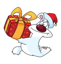 Polar bear and gift box vector