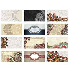 Ornate floral business card vector
