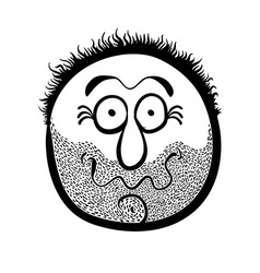 Funny cartoon face with stubble black and white vector