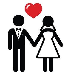 Wedding married couple icon vector