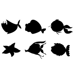 Different silhouettes of sea creatures vector