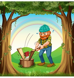 A man chopping the woods near the trees vector