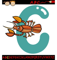 Letter c for crayfish cartoon vector