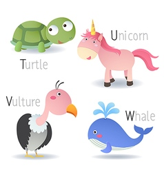 Alphabet with animals from t to w vector