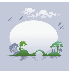 Abstract asian landscape - morning vector