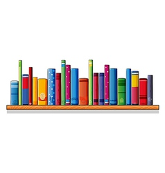 A wooden shelf with books vector
