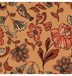 Floral seamless pattern in brown colors vector