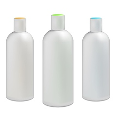 Plastic bottles with colored caps vector