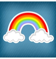 Clouds with rainbows vector