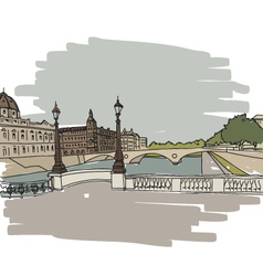 Hand drawn paris cityscape vector