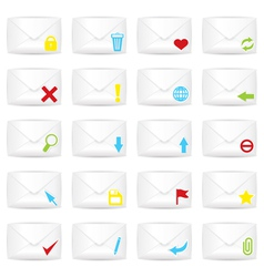 White closed twenty envelopes icon set vector