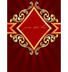 Vertical label with gold rim vector