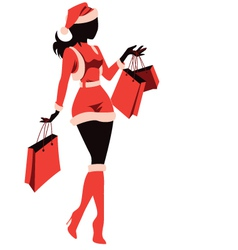Woman shopping for christmas vector