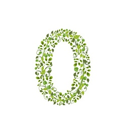 Spring green leaves eco number 0 vector