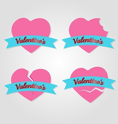 Set of hearts badges and labels valentines day vector
