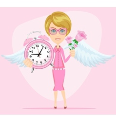 Angel holding time and flowers vector