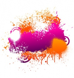 Purple and orange paint splatter vector