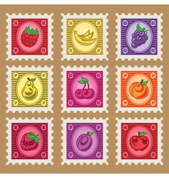 Vintage fruit stamps vector