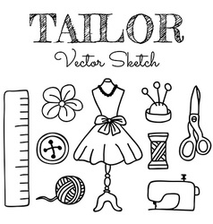 Hand-drawn tailor elements vector