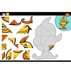Cartoon fish jigsaw puzzle game vector