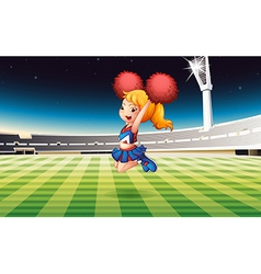 A soccer field with an energetic cheerdancer vector